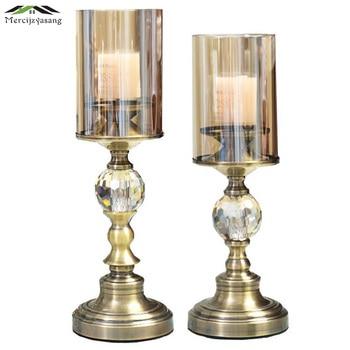 Glass Metal Candle Holder European Votive Candlestick Romantic Candle Holders for Wedding Dinner Decoration Candelabra GZT031