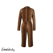Trendy Women clothes Leopard print round neck long sleeve Jumpsuit Bandage casual Polyester Romper one pieces