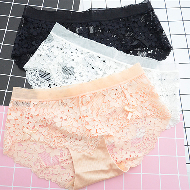 SP&CITY Fashion Transparent Lace Pantied Women Hollow Out Sexy   Panties   Girls Cute Underwear Floral Crotch Cotton Seamless Briefs