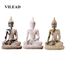 VILEAD 4.3 Nature Sandstone Buddha Statue Sculpture Thailand Fengshui Figurine Meditation Miniature Home Decoration Accessories