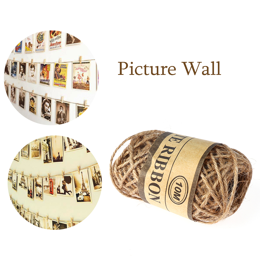 032e26142c3e 10m/Roll Natural Cords Woven Hemp Rope DIY Rope Twine Jute String Gardening  Cord Gift Wedding Home Accessories Decorative