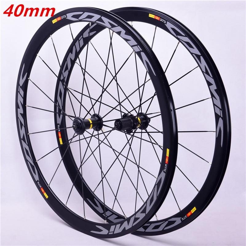 700C Carbon Hub 40MM Wheelset Hot Sale 2018 Bmx Road Bicycle Wheel Aluminium Alloy Ring Wheel Brake V Road Bike COSMIC