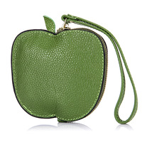 Fruit Green Shape Jelly Color Short Small Coin Purses Super Thin Wrapped Coin Bag Holders Key