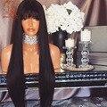 8А Бразильский Шелковистая Прямая Полный Шнурок Человеческих Волос Парики С Челкой Glueless Девственные Волосы Фронта Шнурка Человеческих Волос Парики Для Чернокожих Женщин