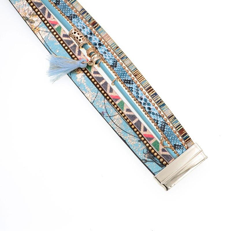 brățară din piele Albastru floare albastru snakeskin formă - Bijuterii de moda - Fotografie 5
