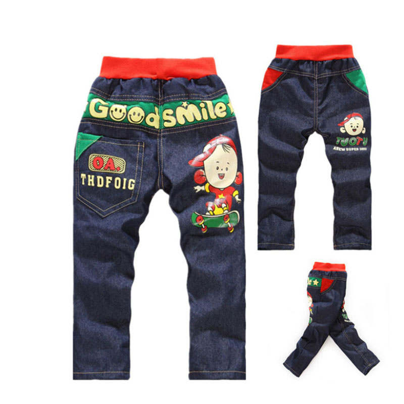 Baby Boys Clothes Cartoon Pattern Printing Clothes Kids Jeans Children Pants Summer Casual Denim Pants Baby Girls Jeans men s casual color printing zip fly straight legs denim pants