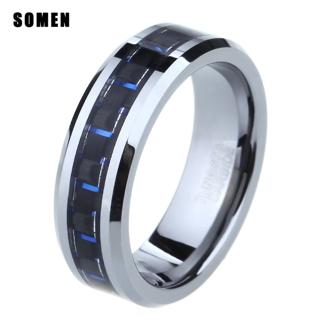 6mm Tungsten Black Blue Carbon Fiber Inlay Ring Men Women Wedding Engagement Band Promise
