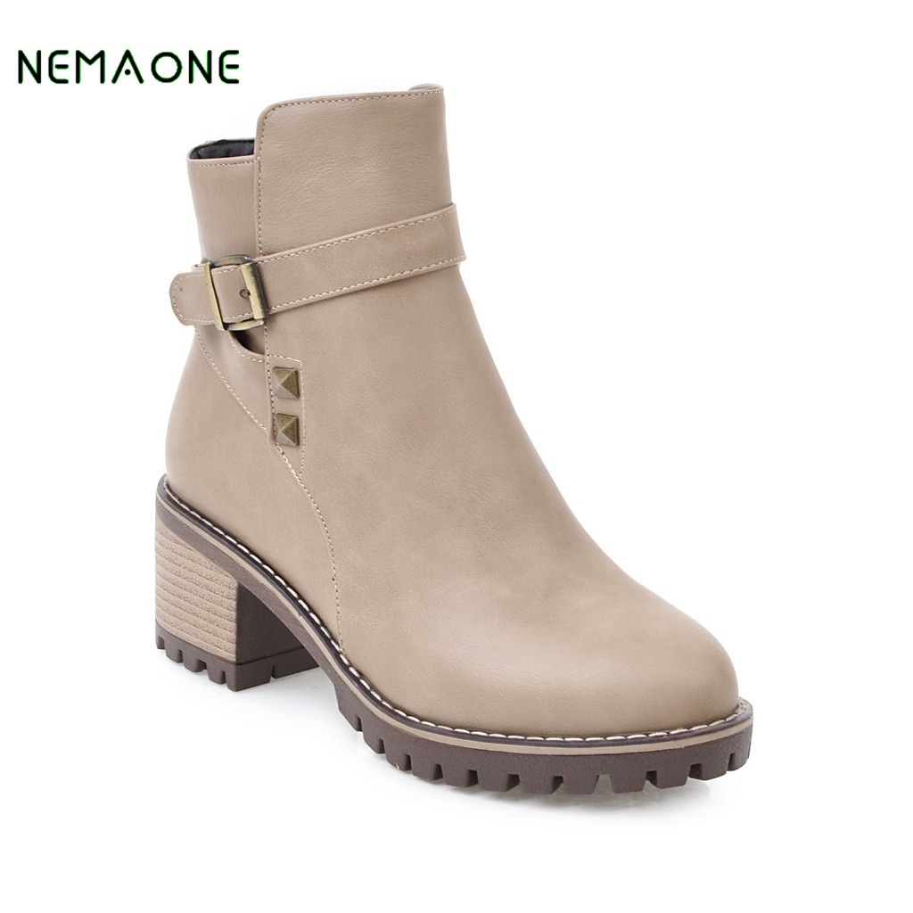 NEMAONE Women Fashion Fur Ankle Boots Square Heels Round Toe Plus Size Casual Shoes Short Booties for Winter booties warm shoes winter round toe side zip boots brown real fur flat casual ankle female new ladies 2017 chinese fashion short