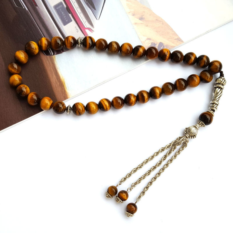 Fashion 8mm Natural Tiger Eye's Stone 33 Prayer beads Islamic Muslim Tasbih Rosary Misbaha bead for Famliy friend present gift-in Chain & Link Bracelets from Jewelry & Accessories    1