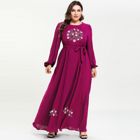 2019 Fashion Floral Embroidery Maxi Long Dress Muslim Abaya Plus size Lantern Sleeve Self belt Fit and Flare Party Dress M 4XL