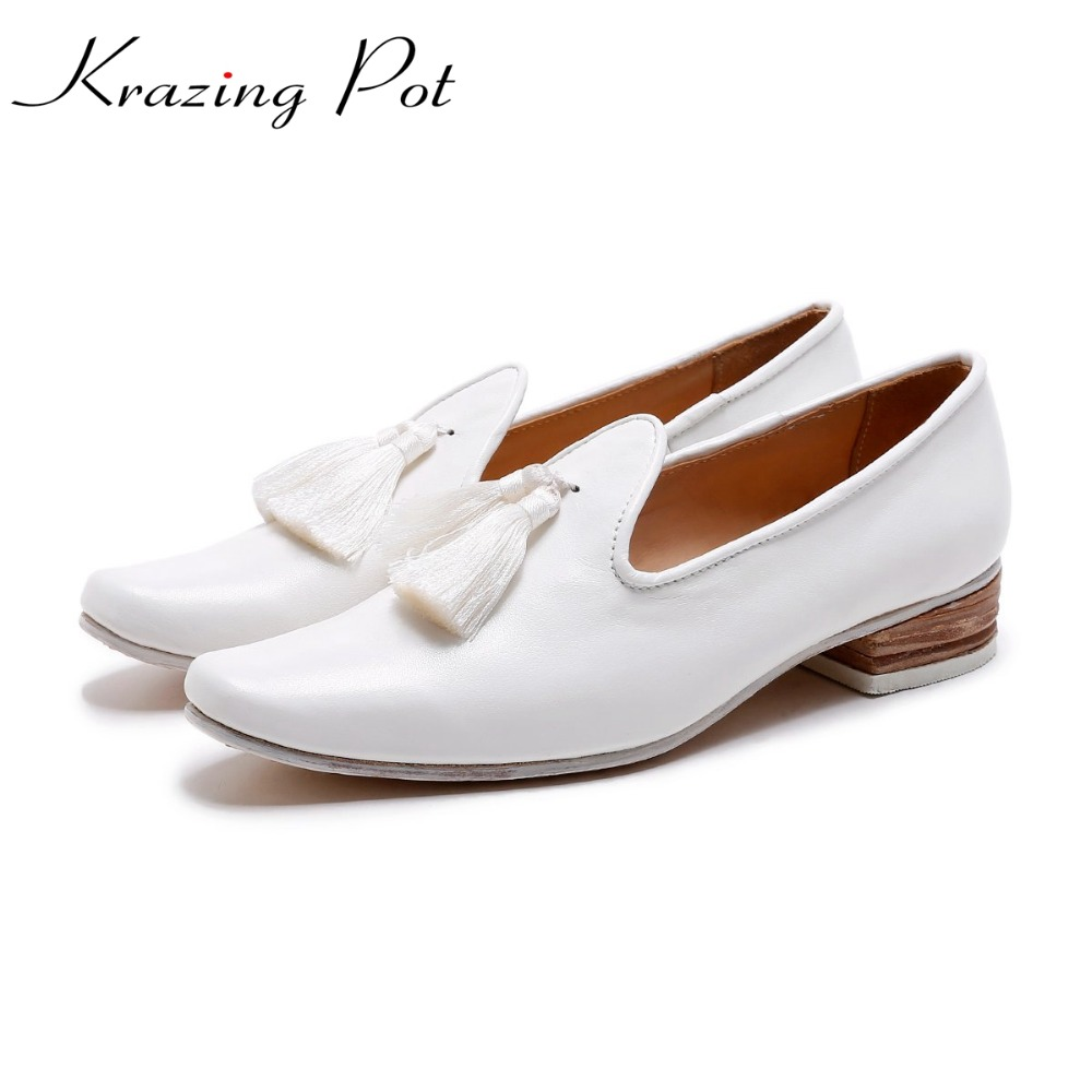 Krazing Pot fashion brand shoes genuine leather slip on European style square toe preppy style tassel med heels women pumps L12 krazing pot new fashion brand shoes square toe shallow women pumps metal strange high heels slip on causal office lady shoe 02