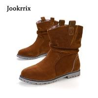 Jookrrix Autumn Winter Fashion Western Style Lady Boot Black Shoe Women Warm Ankle Silp On Flats