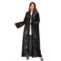 Chic Sequin Muslim Kimono Cardigan 2019 Spring Women Blusas Vintage Loose Big Blouse Shirts Long Outerwear Black Tops Belted