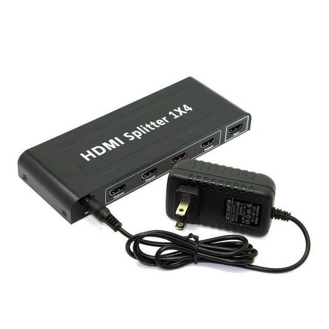 20pcs /lots HDMI 4 Port Hub Splitter Repeater Amplifier 1x4 1 in 4 out for Full HD 1080P & 3D ,By Fedex UPS