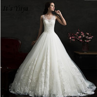 Это YiiYa o образным вырезом без рукавов Свадебные платья маленький поезд невесты платья кружева Vestidos Deovia Casamento HX052
