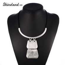 Shineland Hot Fashion Multilayer Black PU Leather Geometric Choker Pendants Necklace Collier Femme Colares Mujer Bijoux Jewelry