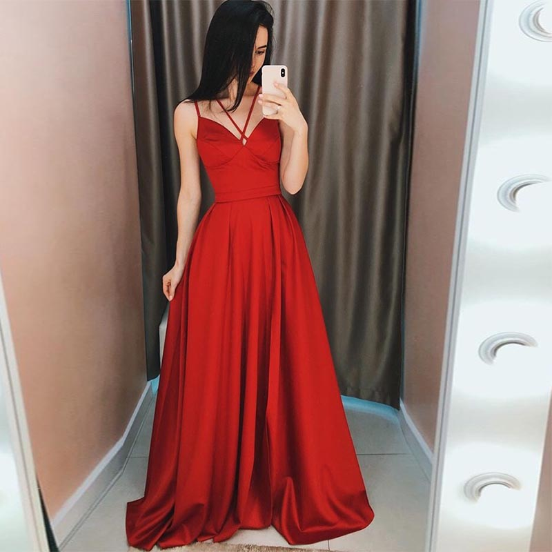 Dark Red Green A Line   Evening     Dresses   2019 Sexy V Neck Spaghetti Straps Satin   Evening   Gown Formal Prom Party Gown