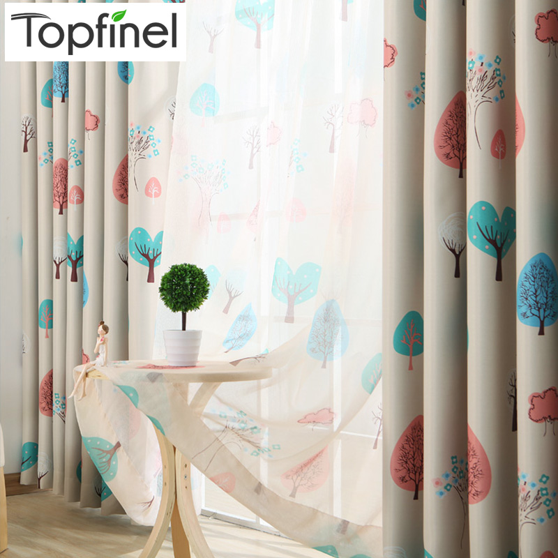 Topfinel Blackout Curtains For Living Room Kid Bedroom Tree Pattern Window Treatment Curtains Baby Room Children Curtains Drapes