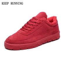 New Outdoor Winter Men Shoes Running Men flat  Sneakers Shoes Sports Warm Plush Running Shoes With Fur Chaussures Homme