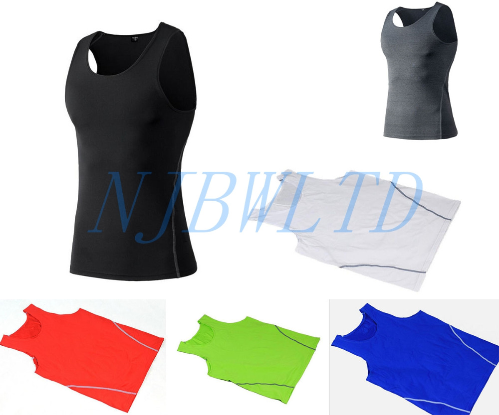 Mens Fitness Vest Under Compression Armour Tight Base layer Sleeveless T-shirt Quick Dry ...