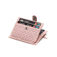 New Fashion Genuine Leather Card Holder Capacity Zipper Female Fashion Men Women ID Card Wallets With
