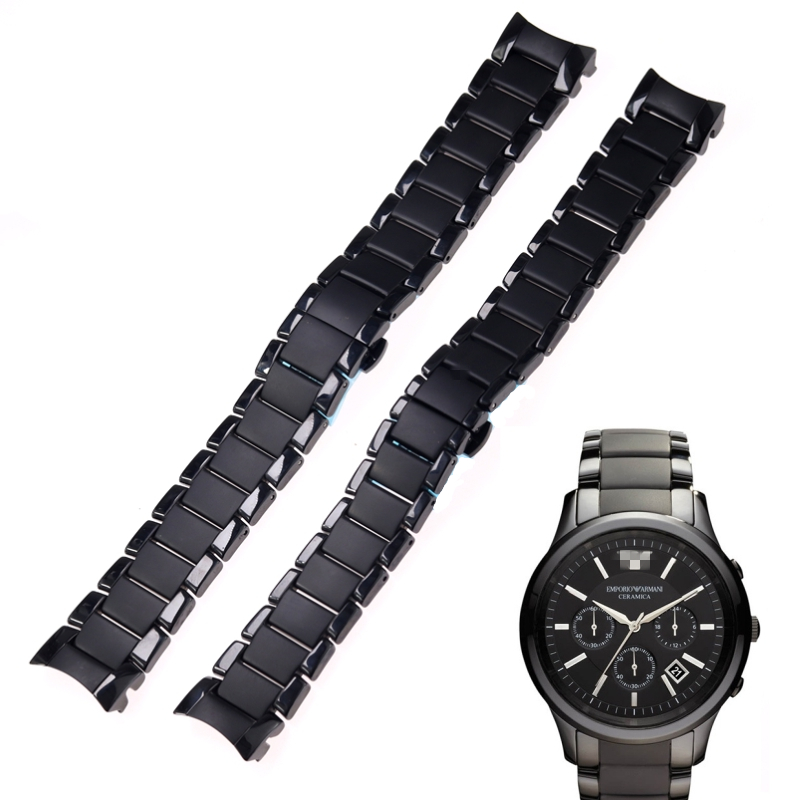 Image 2 - High quality ceramic steel strap 22mm 24mm for Armani watch modelAR1452 AR1451 watchbands black matte strap Replacement bracelet-in Watchbands from Watches