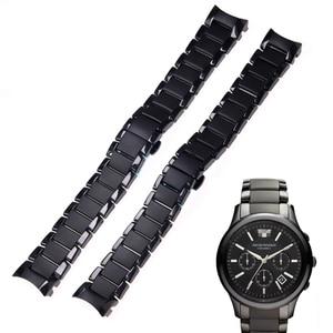 Image 2 - Zubehör keramik stahlband 22mm 24mm für Armani uhr modelAR1452 AR1451 uhrenarmbänder schwarz matte strap Ersatz armband