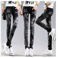 Black Long Jeans Woman Casual Pencil Pants Girl Washed Rhinestones Hot Drilling Printing Skinny Long Women