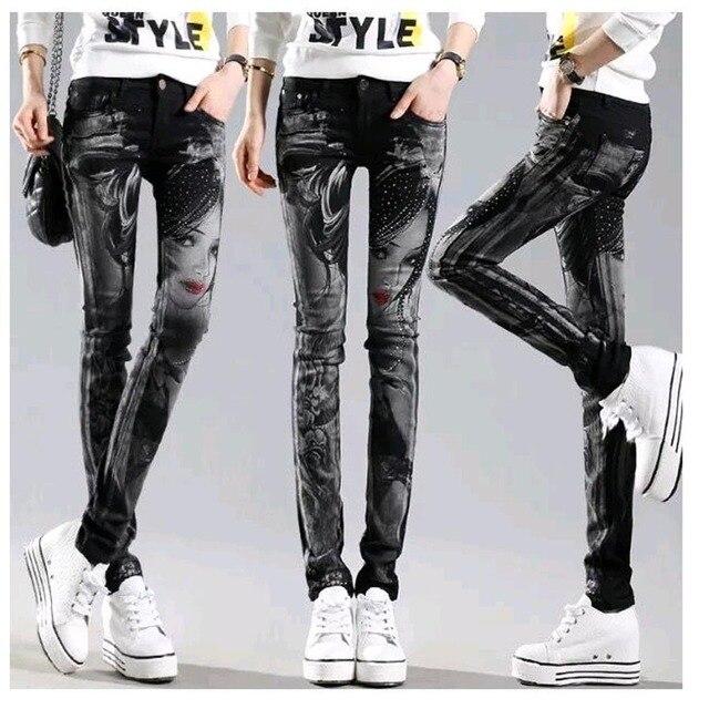 36dad34267 Schwarz Lange jeans frau Casual Bleistift hosen Mädchen Gewaschen strass  Hot bohren druck Dünne Lange frauen