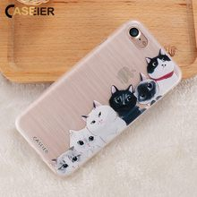 CASEIER Cute Cat Phone Case For iPhone 6 6s Plus 3D Relief Soft Silicone TPU Cases 7 8 Lovely Cats Funda Capinha