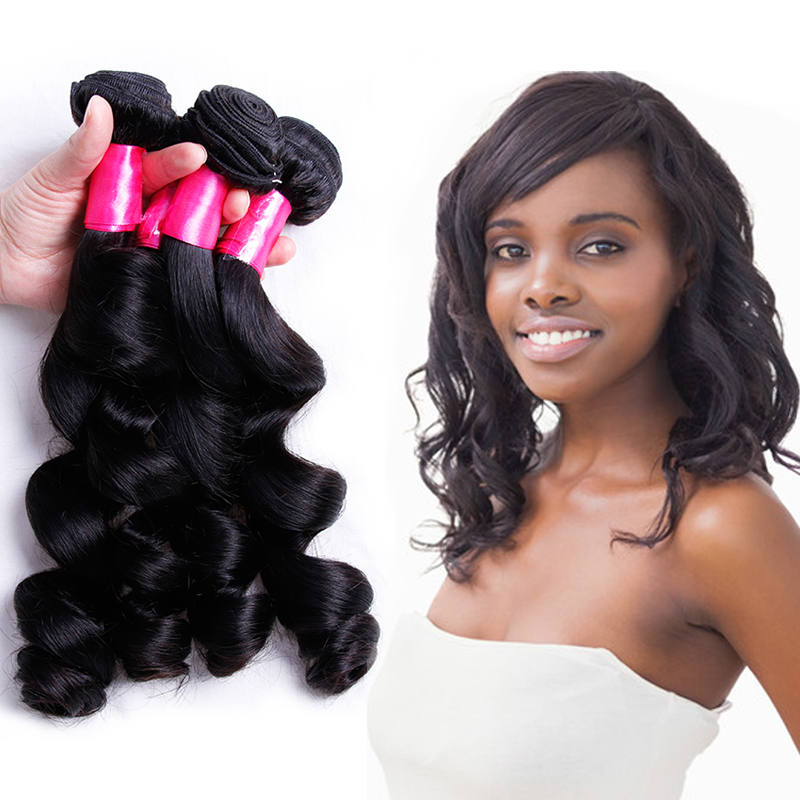 Brazilian Loose Wave 3 Bundles Non Remy Hair Weave Bundles 8-28 Inches Human Hair Weave Extensions Piaoyi Real Wave Bundles