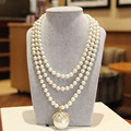 Noble Female Jewelry Rhinestones Flower Pendants & Necklace Multilayer Beaded Imitation Pearl Necklace