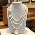 Noble de La Joyería Femenina Rhinestones de Flores Colgantes y Collar de Perlas de Varias Capas Collar de Perlas de Imitación