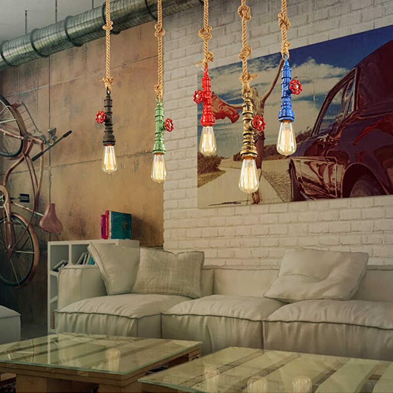 DIY Лофт ретро промышленные винтажные стимпанк водопровод Подвесная лампа красочная e27 пеньковая веревка подвесной светильник для бар ресторан столовая
