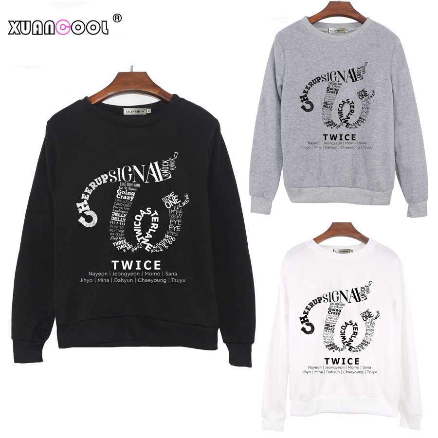 XUANCOOL 2018 Fashion Autumn Winter Women Sweatshirts Long Sleeve O-Neck TWICE Album Clothes Fleece Pullovers Top Sudadera Mujer