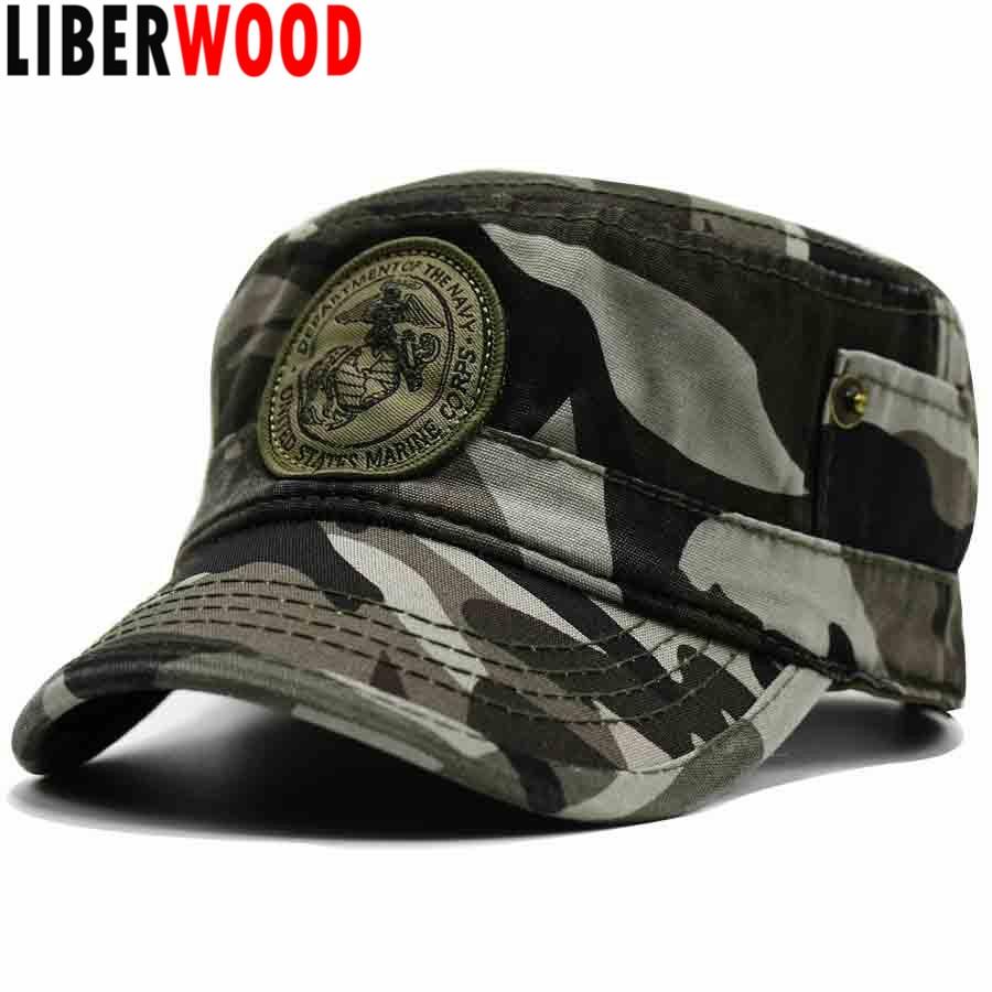 Marine Corps Hat U.S USMC Flat Top Black Baseball Cap