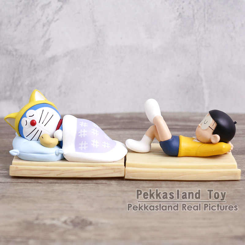 Doraemon Nobi Nobita Mobile Phone Holder Sleeping Doraemon Car Home Decoration Doll PVC Figure Model Toy