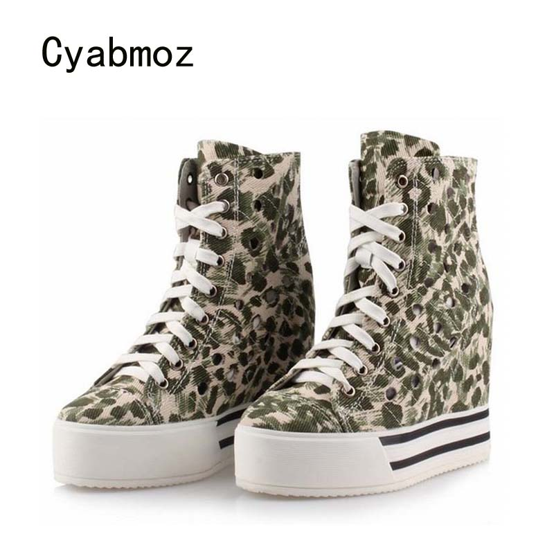 Cyabmoz Women Shoes Woman Denim Platform Wedge High heels Height increasing Party Shoes Zapatillas deportivas Zapatos mujer цена и фото