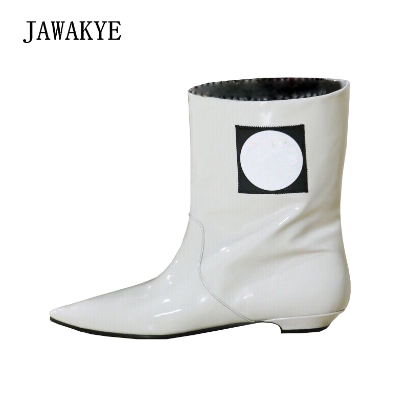 Cow Toe Femme Pour As Show Talons À Chaussures Bottes boy Femmes 2018 Chaton D'hiver brown Cheville white Marque Black yellow Britannique Style green Nouvelle Point Court Plat xxqZH8
