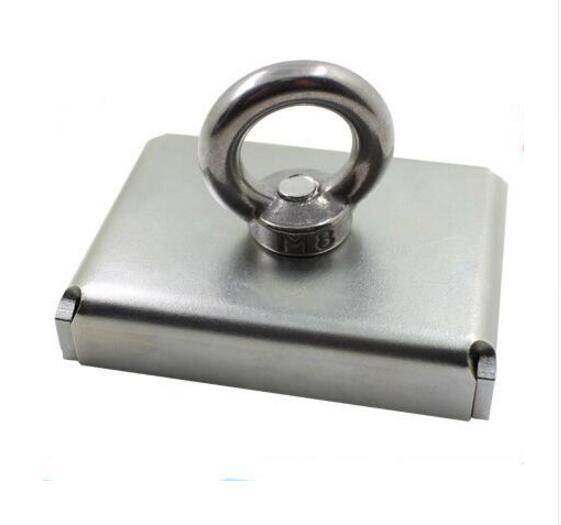 1pc 75*55*15mm Neodymium Iron Boron Block Magnet With Circular Eyebolt Rings For Salvage ( steel case) Lowest Price D75*55*15 4 7 5mm neodymium nib magnet spheres with steel case silver 216 piece pack