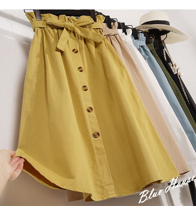 HTB1jA7dXEzrK1RjSspmq6AOdFXa8 - Summer Autumn Skirts Womens Midi Knee Length Korean Elegant Button High Waist Skirt Female Pleated School Skirt
