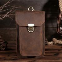 2017New Men's Crazy Horse Genuine Leather Waist Bag Vintage Hip Belt Bum Pack Travel Fanny Pack Belt Loops Purse Pouch B2089