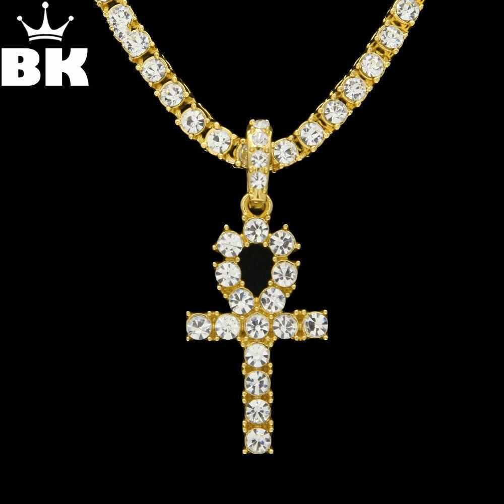 Ankh Halskette Ägyptischen Schmuck Gold Farbe Legierung Anhänger & Kette Für Männer Schlüssel von Leben Ägypten Kreuz Vintage Geschenke Drop verschiffen