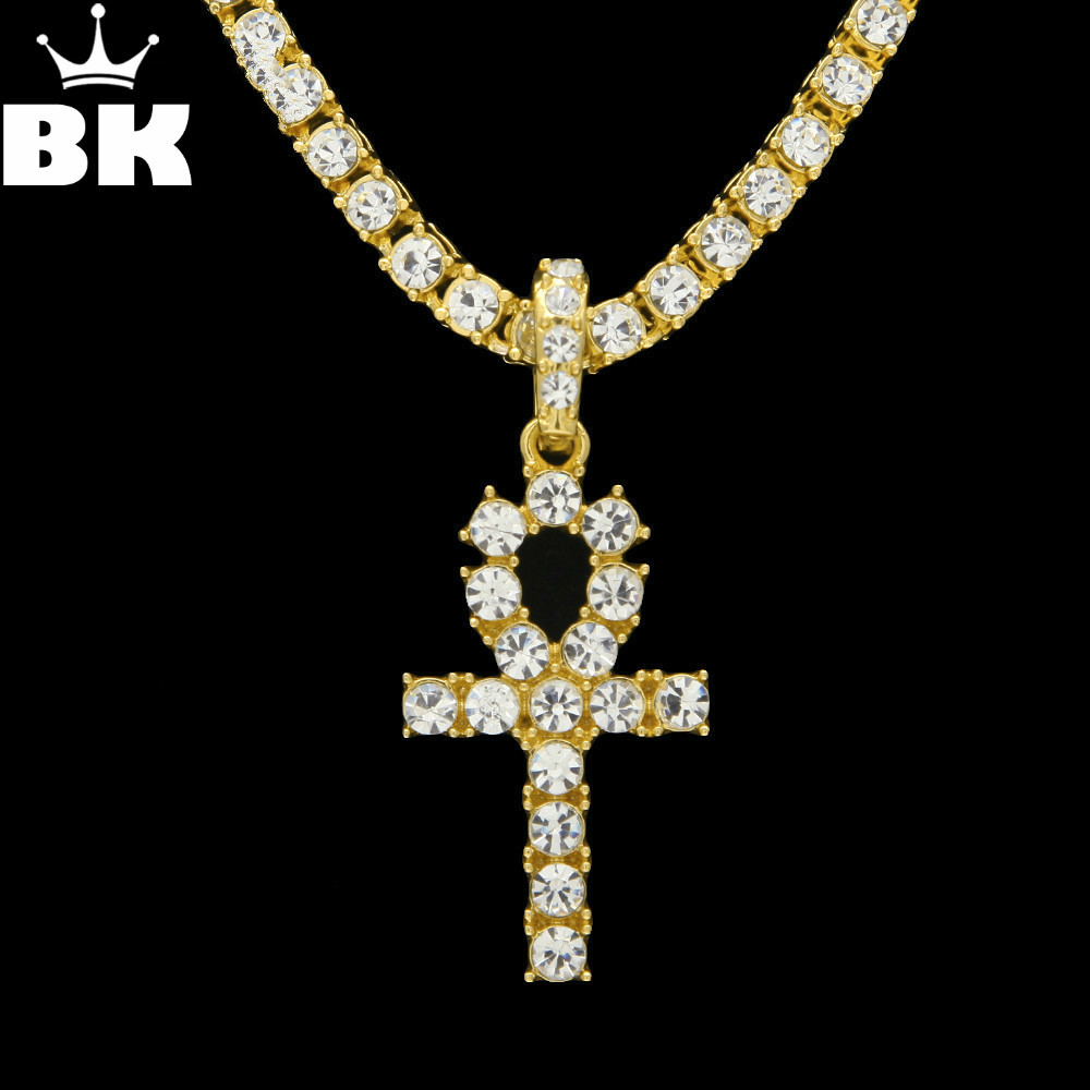 Ankh Kalung Perhiasan Emas Warna Emas Alloy Pendant & Chains Untuk Pria Kunci kehidupan Mesir Palang Vintage Hadiah Drop pengiriman