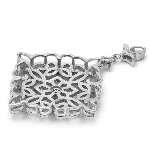 39.5x57.5mm chanceux fleur Zircon Pave 925 en argent Sterling pendentif connecteur charme bricolage perle bijoux résultats accessoire SLJQ-CZ029 - 2
