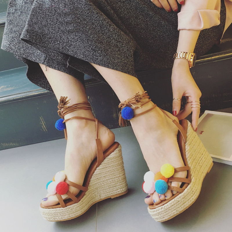 Candy Color Pompom Wedge Sandals Braid Platform High Heel Lace Up Gladiator Sandals Women Pumps Fringe Summer Ladies Shoes Woman nayiduyun women genuine leather wedge high heel pumps platform creepers round toe slip on casual shoes boots wedge sneakers