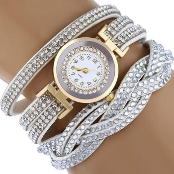 Women  Fashion Rhinestones Faux Leather Braid Analog Clock Quartz Bracelet Wrist Watch gift New cross layered faux leather bracelet