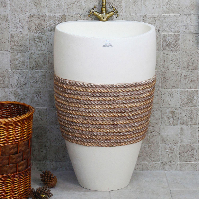 Bathroom sink stone - 2017 Hot Sale Promotion Stone Bathroom Sink Washbasin Stone Sink Fashion Antique Meaka Luxury Pedestal Basin Eco Friendly Wash