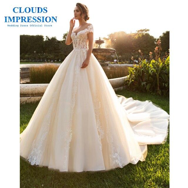 עננים רושם אמיתי מחיר רומנטי 2019 חתונה שמלת כלה שמלת שריד דה Noiva אפליקציות בתוספת גודל כדור שמלה
