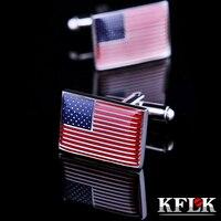 KFLK Luxury American Flag Shirt Cufflinks For Mens Brand Cuff Buttons Cuff Links High Quality Gemelos